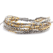 Chan Luu TREND Collection Base Metal Grey Mix Multi Strand Crystal Gold Silver Beaded Pull Cord Bracelet BGZ-4085