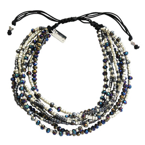 Chan Luu TREND Collection Base Metal Twilight Mix Multi Strand Crystal Silver Beaded Pull Cord Bracelet BSZ-4085
