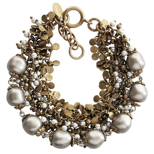 "Catherine Popesco 14k Gold Plated Multi Strand Beaded Pearl Bracelet, 7.5"" 1744G"