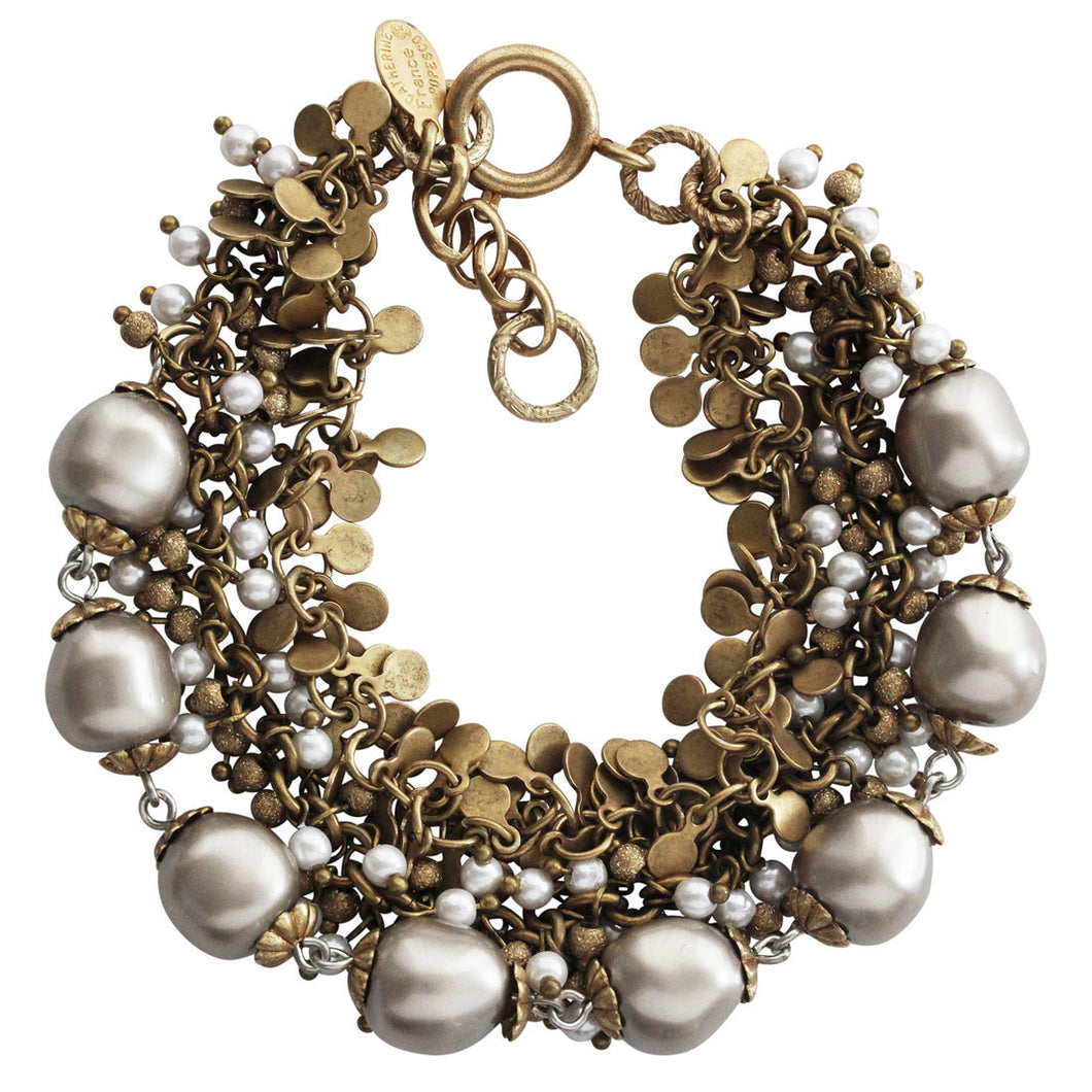 Catherine Popesco 14k Gold Plated Multi Strand Beaded Pearl Bracelet, 7.5