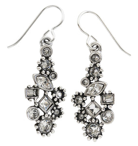 "Patricia Locke ""Natalya"" Sterling Silver Plated Swarovski Earrings, All Crystal EF1053S"