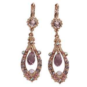 "Mariana ""Flamingo"" Rose Gold Plated Ornate Open Hoop Teardrop Dangle Swarovski Crystal Earrings, Pink 1120 319rg"