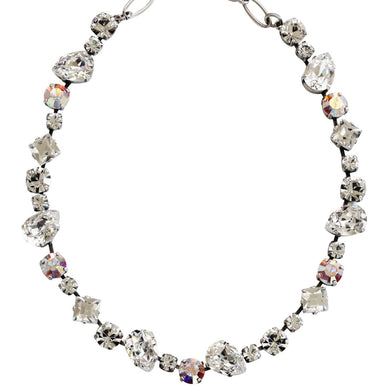 Mariana Silver Plated Organic Shapes Swarovski Crystal Necklace, 17.5