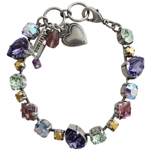"Mariana Silver Plated Mixed Shapes Swarovski Crystal Bracelet, 7"" Iris 4505 1327"