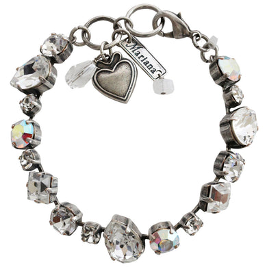 Mariana Silver Plated Mixed Shapes Swarovski Crystal Bracelet, 7