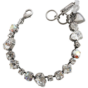 "Mariana Silver Plated Mixed Shapes Swarovski Crystal Bracelet, 7"" On A Clear Day 4505 001"
