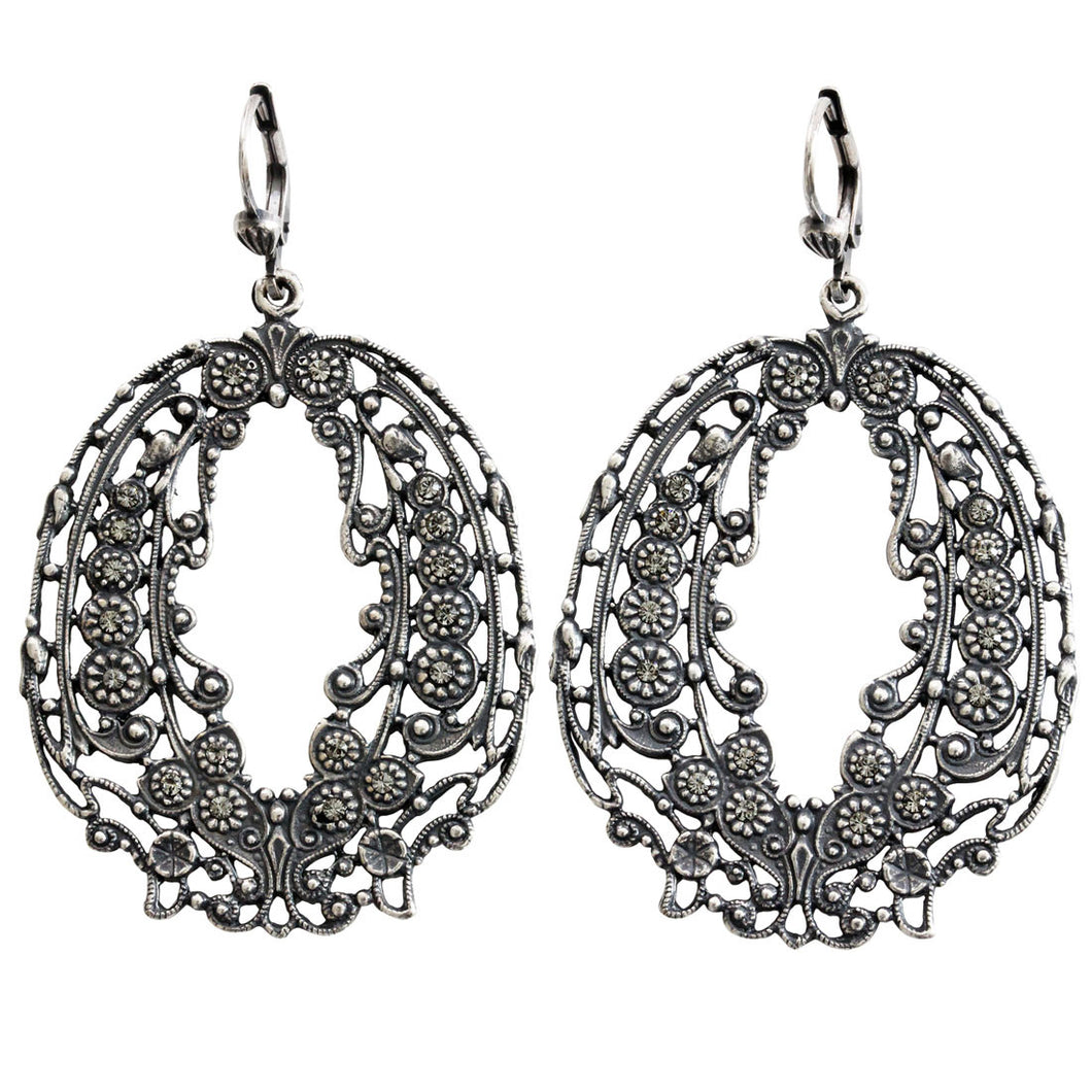 Catherine Popesco Sterling Silver Plated Ornate Nouvelle Crystal Earrings, 4668 Gray