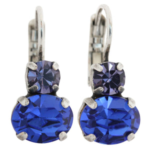 "Mariana ""Electra"" Silver Plated Double Drop Oval Swarovski Crystal Earrings, 1462 1026"