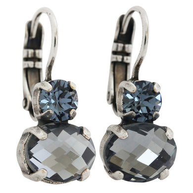 Mariana Martini Silver Plated Double Drop Oval Swarovski Crystal Earrings, 1462A 266217