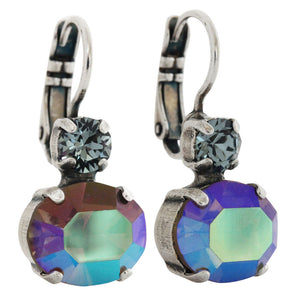 "Mariana ""Martini"" Silver Plated Double Drop Oval Medium Swarovski Crystal Earrings, 1350 215-3"