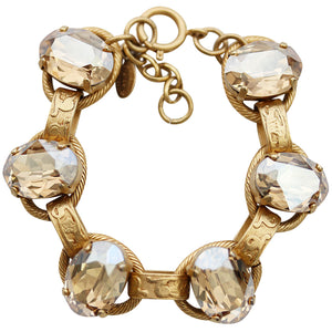 "Catherine Popesco 14k Gold Plated Crystal Oval Scroll Link Bracelet, 7"" 1609G Champagne"