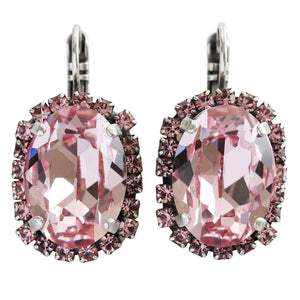 "Mariana ""Antigua"" Silver Plated Large Oval Statement Swarovski Crystal Earrings, Pink Rose 1090/1 223"