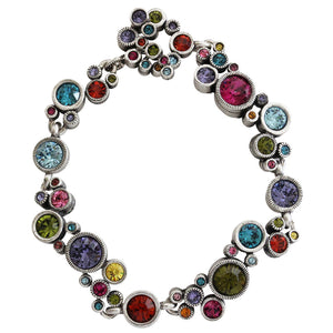 "Patricia Locke Ovation Sterling Silver Plated Swarovski Crystal Multi Color Mosaic Rainbow Bracelet, 7.25"" Fling BR0336S"