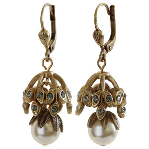 Catherine Popesco 14k Gold Plated Simulated Pearl Beaded Leaf Cap Earrings, 4450G