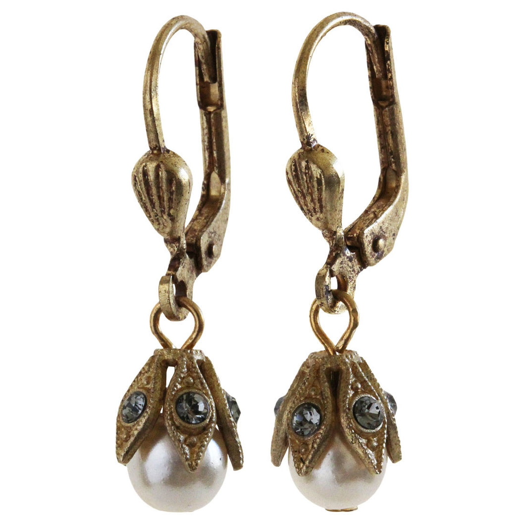 Catherine Popesco 14k Gold Plated Petite Pearl Beaded Leaf Capped Crystal Earrings, 8823G Grey