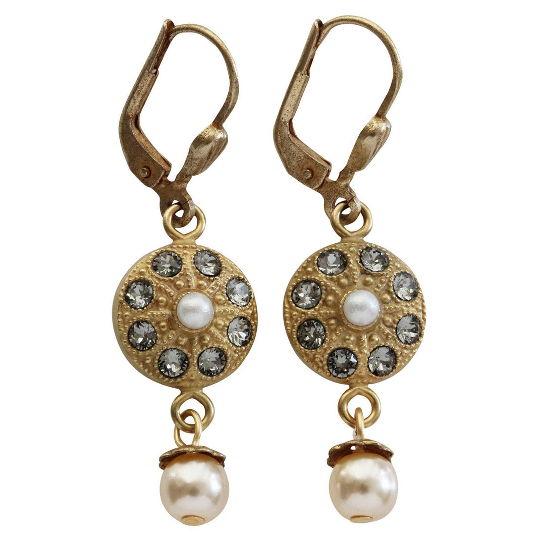Catherine Popesco 14k Gold Plated Round Pearl Beaded Drop Swarovski Crystal Earrings, 4382G Grey