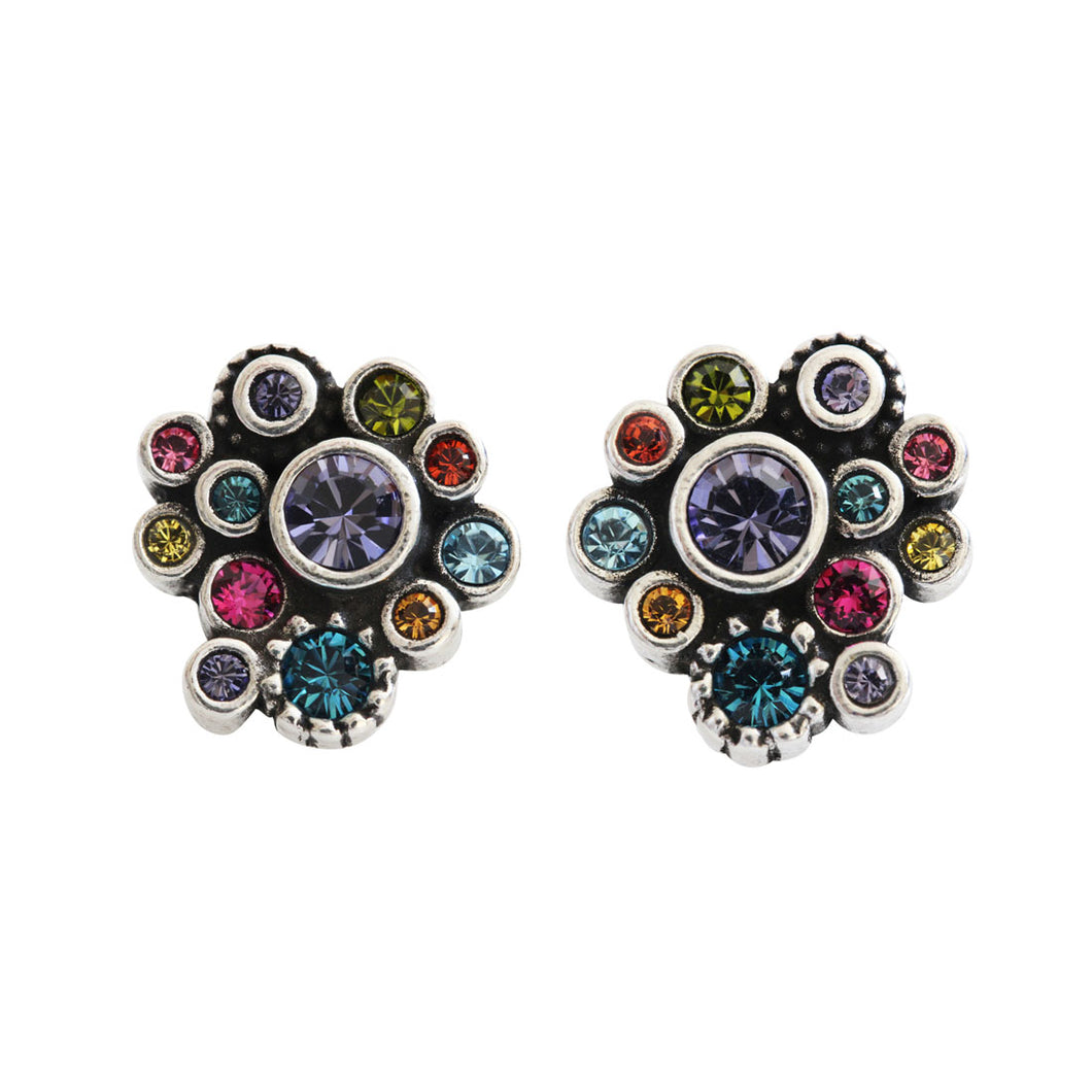 Patricia Locke Pebbles Sterling Silver Plated Post Stud Swarovski Mosaic Earrings, EP0252S Fling