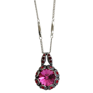 "Mariana ""Firefly"" Silver Plated Rivoli Cut Crystal Surround Swarovski Pendant Necklace, Red Fuchsia 5070 2140"