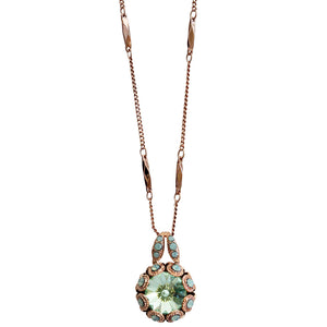 Mariana Rose Gold Plated Rivoli Cut Crystal Surround Swarovski Pendant Necklace, Light Green Chrysolite 5070 390rg
