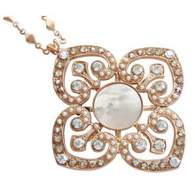 "Mariana ""Aurora"" Rose Gold Plated Ornate Clover Pendant Statement Swarovski Crystal Necklace, 28"" 5050 M1093mr"