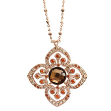 "Mariana ""Caramel"" Rose Gold Plated Ornate Clover Pendant Statement Swarovski Crystal Necklace, 28"" 5050 137rg"