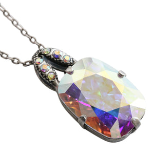 Mariana Silver Plated Rectangle Swarovski Crystal Pendant Necklace, Iridescent Crystal AB Prism 5145/3 001AB