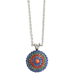 "Mariana ""Oasis"" Silver Plated Round Mosaic Swarovski Crystal Pendant Necklace, 5193/1 432"
