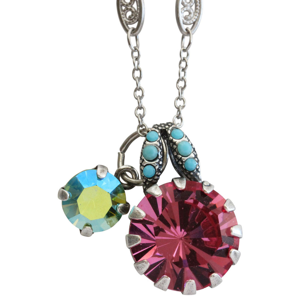 Mariana Silver Plated Round Pendant Swarovski Crystal Necklace, 17.5