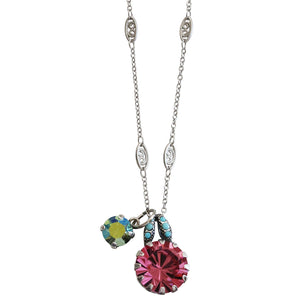 "Mariana Silver Plated Round Pendant Swarovski Crystal Necklace, 17.5"" Summer Fun 5133/2 3711"