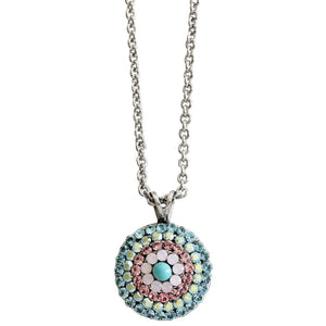 "Mariana ""Summer Fun"" Silver Plated Round Mosaic Swarovski Crystal Pendant Necklace, 5193/1 3711"
