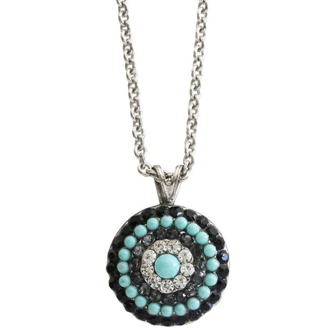 Mariana Silver Plated Round Pendant Crystal Necklace, 20