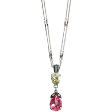 "Mariana ""Pina Colada"" Silver Plated Double Teardrop Dangle Large Statement Swarovski Crystal Pendant Necklace, 5032/4 1063"