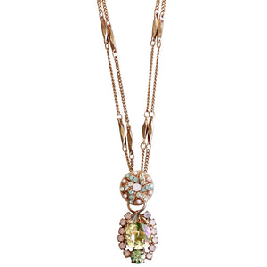 "Mariana Rose Gold Plated Teardrop Patterned Pendant Crystal Necklace, 15"" + 4"" Extender Pina Colada 5259 1063mr"