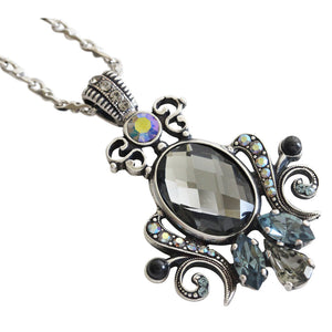 "Mariana ""Martini"" Silver Plated Ornate Oval Scroll Pendant Swarovski Crystal Necklace, 25"" 5023/5 215-3"