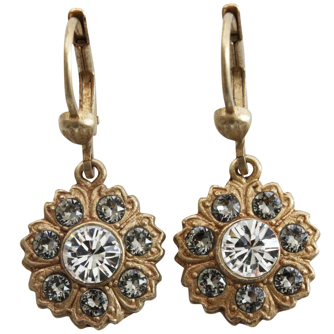 Catherine Popesco 14k Gold Plated Petite Flower Crystal Earrings, 4619G Clear Grey