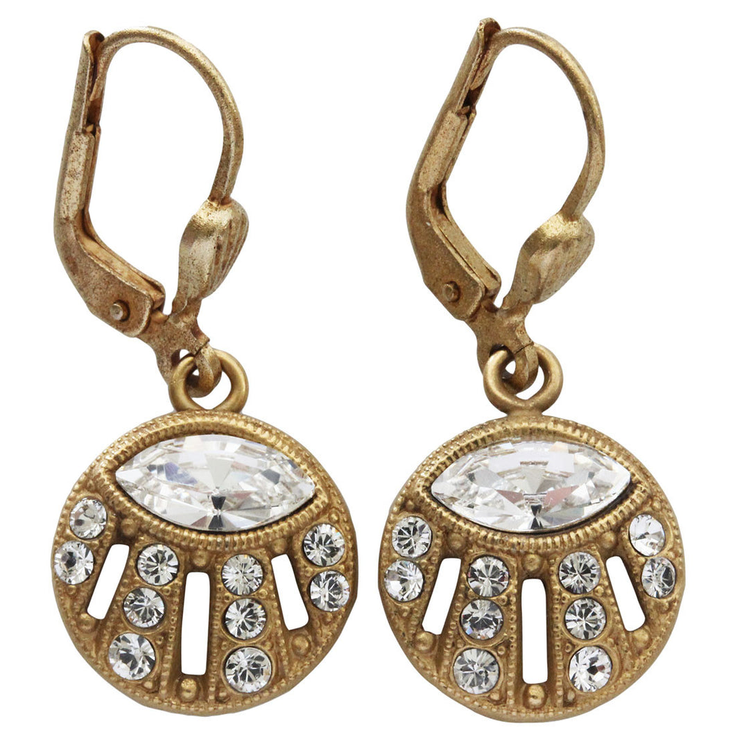 Catherine Popesco 14k Gold Plated Petite Sunrise Round Swarovski Crystal Earrings, 9392G Clear