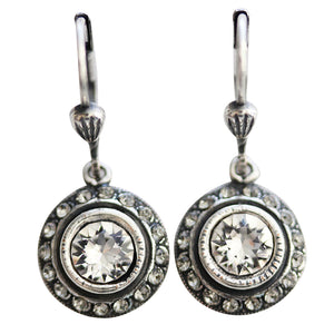 Catherine Popesco Sterling Silver Plated Petite Round Crystal Earrings, 4490 Clear Grey