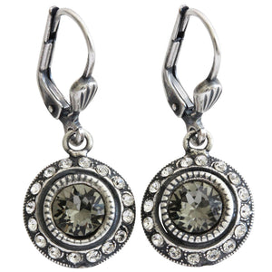 Catherine Popesco Sterling Silver Plated Petite Round Crystal Earrings, 4490 Grey Clear