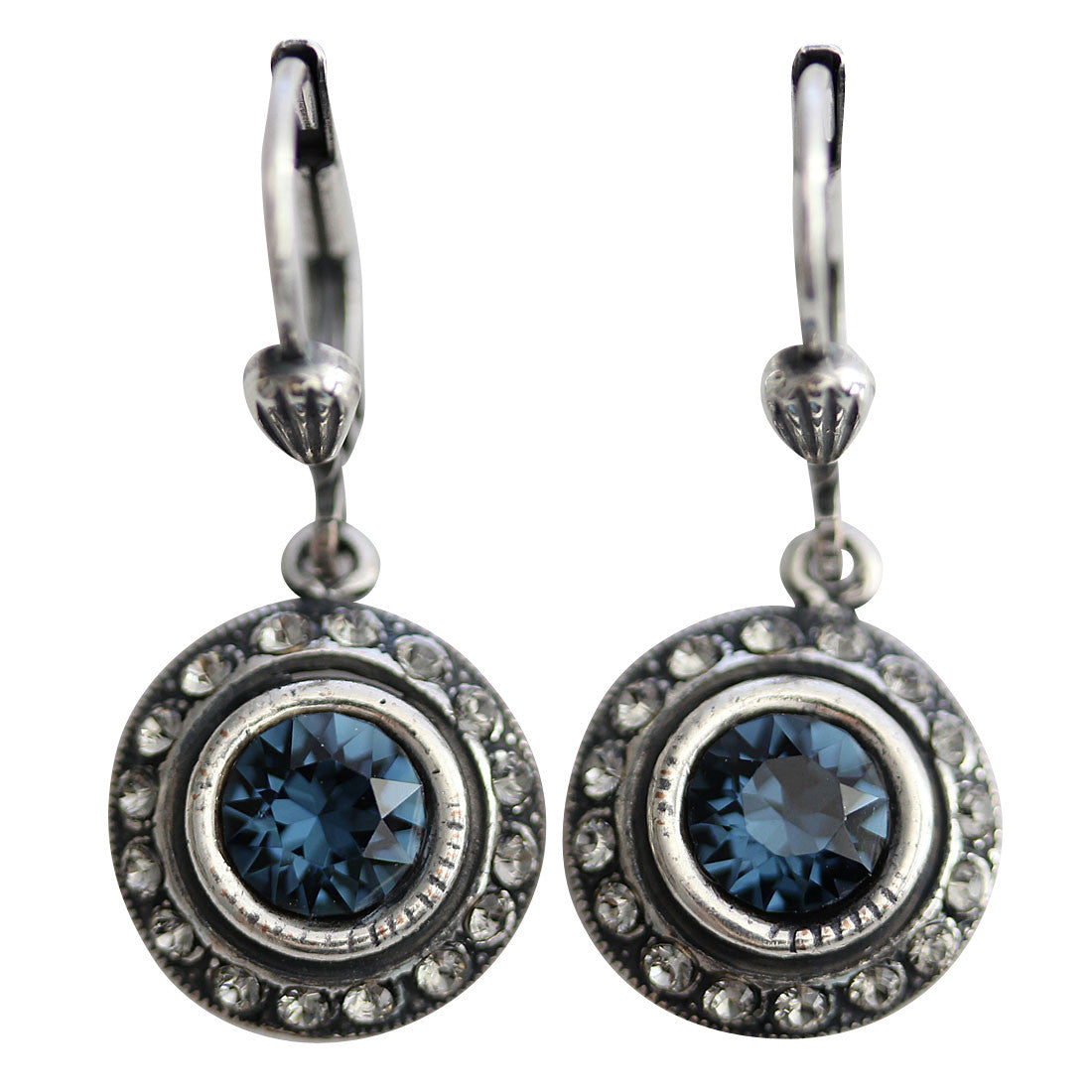 Catherine Popesco Sterling Silver Plated Petite Round Crystal Earrings, 4490 Midnight Grey