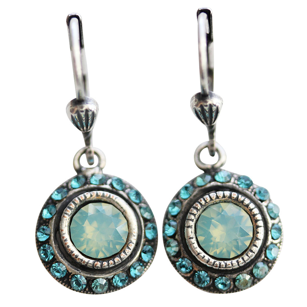 Catherine Popesco Sterling Silver Plated Petite Round Crystal Earrings, 4490 Pacific Opal