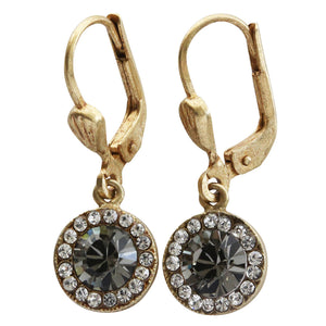 Catherine Popesco 14k Gold Plated Petite Round Swarovski Crystal Earrings, 9363G Clear Grey