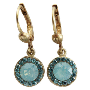 Catherine Popesco 14k Gold Plated Petite Round Swarovski Crystal Earrings, 9363G Pacific Blue Teal