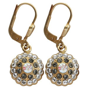 Catherine Popesco 14k Gold Plated Petite Bebe Round Scallop Swarovski Crystal Earrings, 9396G Clear Gray Crystal AB