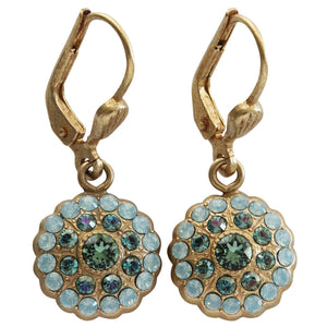Catherine Popesco 14k Gold Plated Petite Bebe Round Scallop Swarovski Crystal Earrings, 9396G Pacific Opal Teal Marine Green