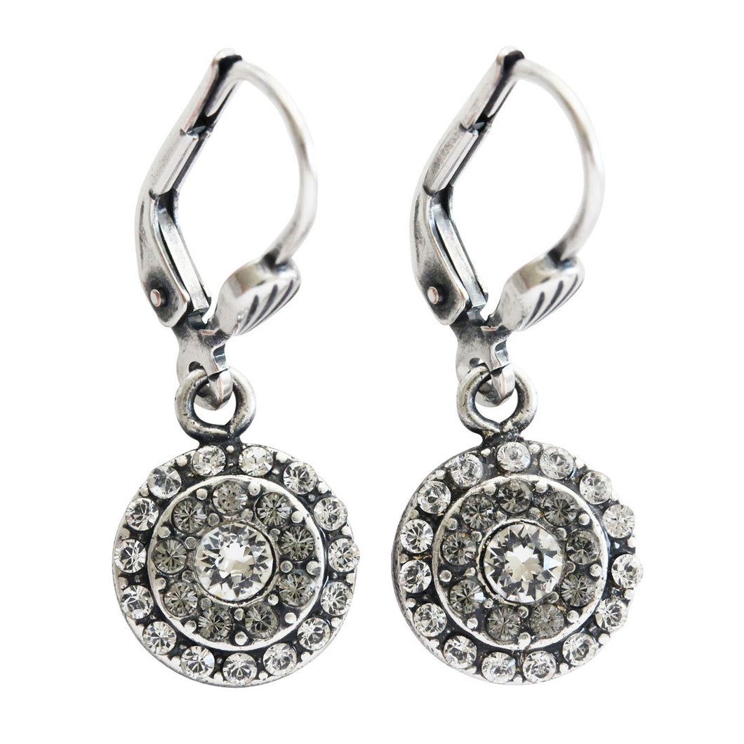 Catherine Popesco Sterling Silver Plated Petite Round 2 Row Swarovski Crystal Earrings, 8966 Clear Grey