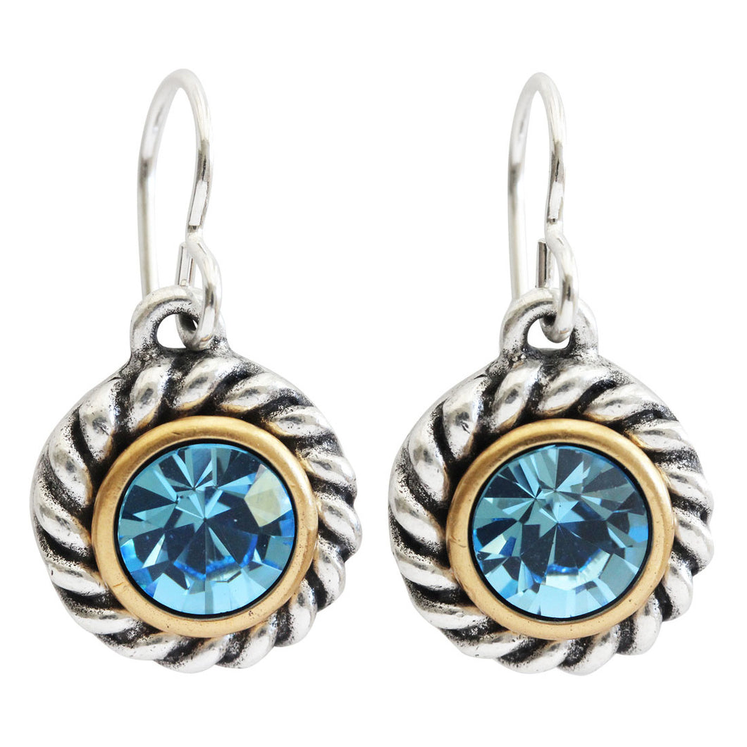 Patricia Locke Philosopher's Stone Sterling Silver Plated Twisted Round Swarovski Earrings, Aqua EF1017S