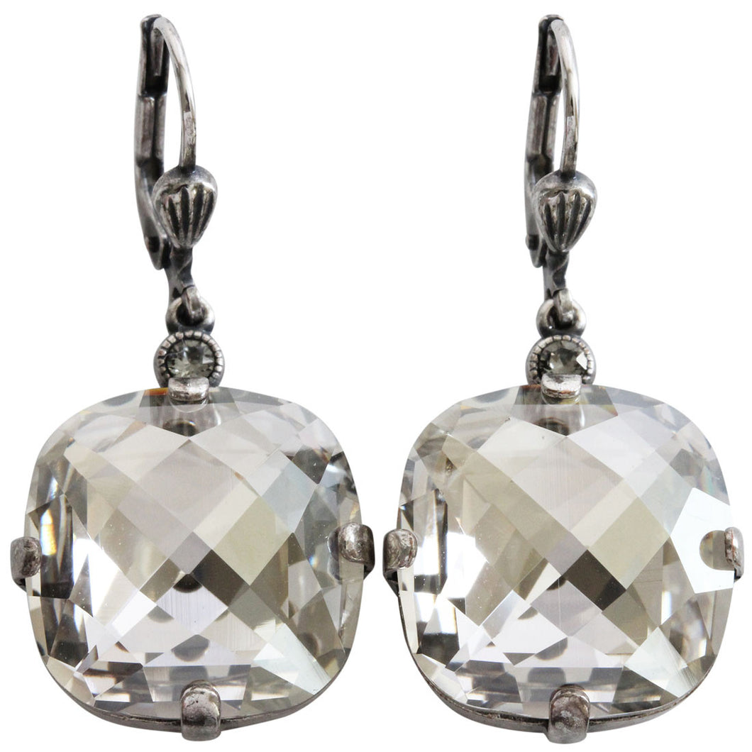Catherine Popesco Sterling Silver Plated Crystal Pillow Cut Large Earrings, 6575 Shade