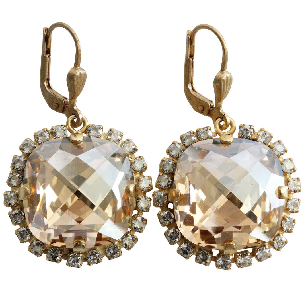 Catherine Popesco 14k Gold Plated Pillow Cut Crystal Border Large Earrings, 4295G Champagne