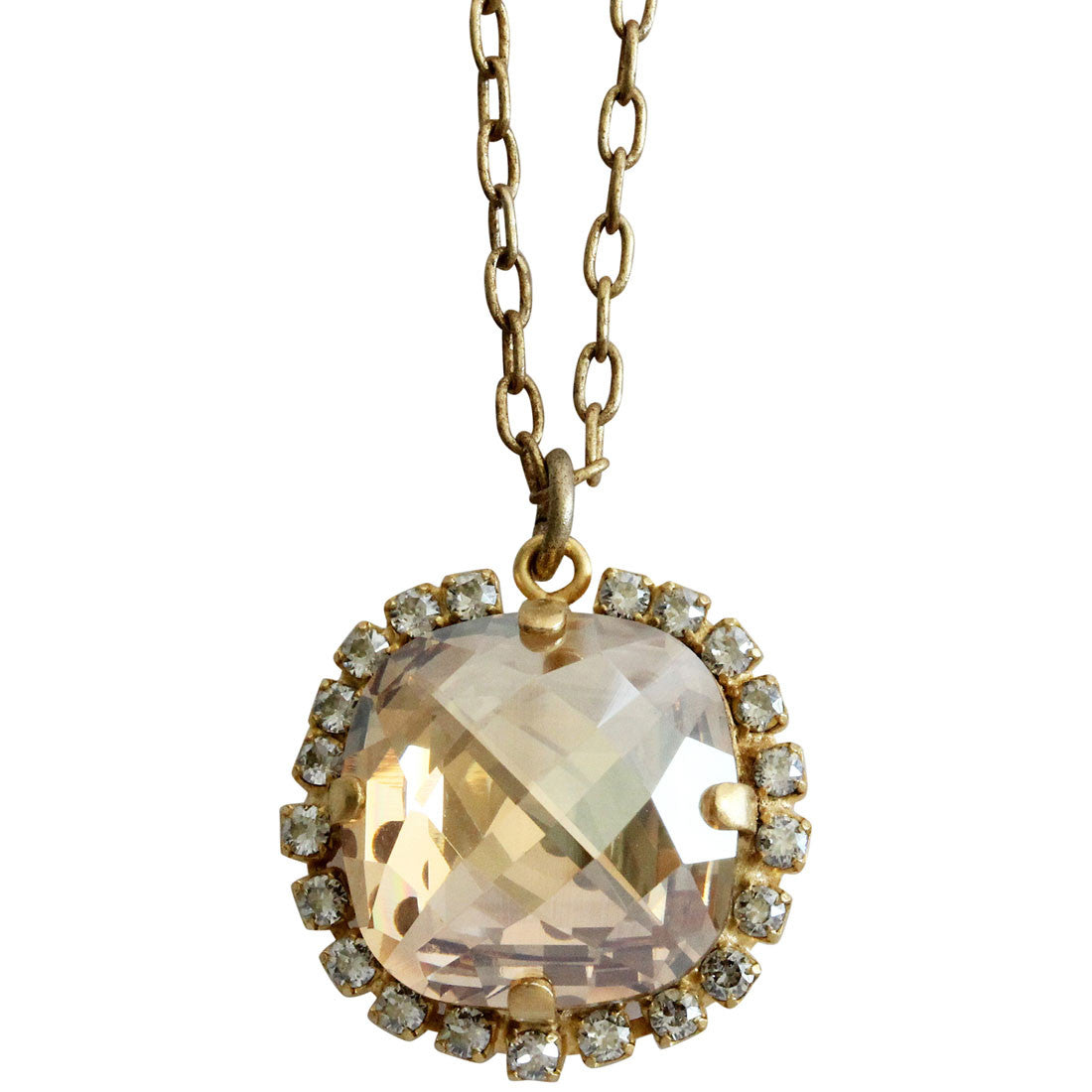 "Catherine Popesco 14k Gold Plated Pillow Cut Large Crystal Border Pendant Necklace, 18"" 4295GN Champagne"