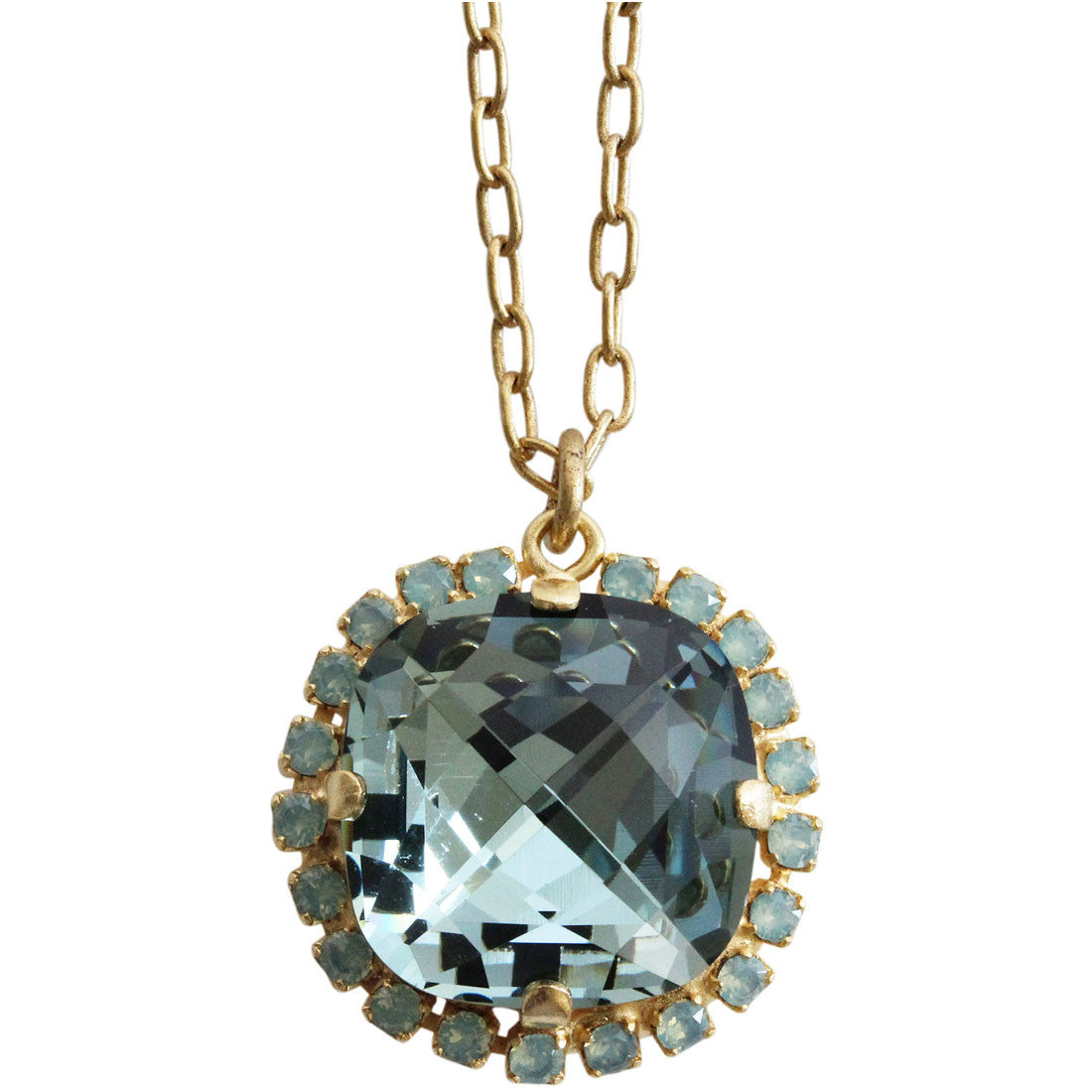 "Catherine Popesco 14k Gold Plated Pillow Cut Large Crystal Border Pendant Necklace, 18"" 4295GN Indian Sapphire"